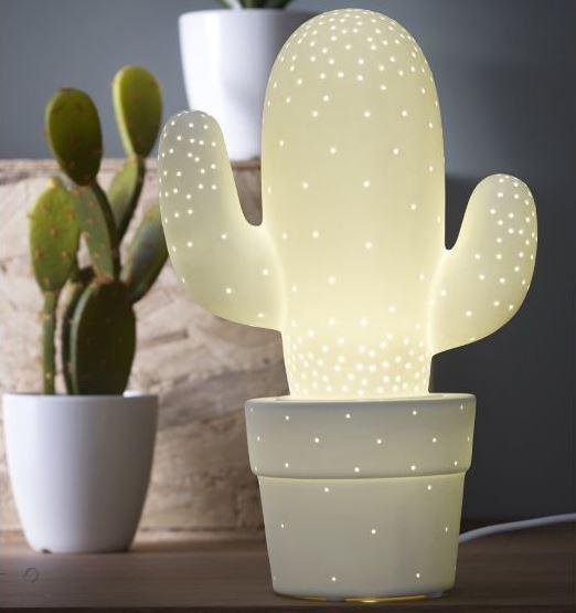 1 Cactus Lampe décorative à poser en céramique blanche H30.5cm Alinéa 35 euros