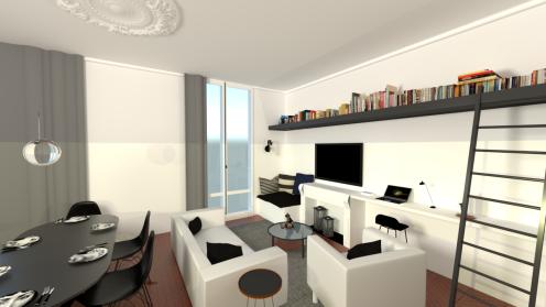 Après : l'espace salon bibliothèque