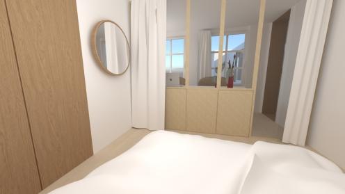 8 vue de la chambre sur le couloir bureau